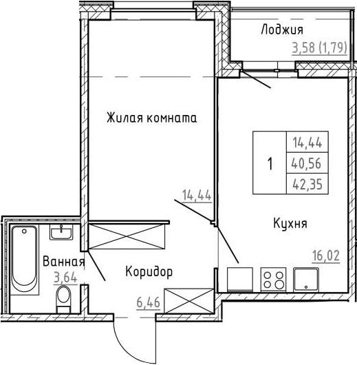 2Е-к.кв, 42.35 м², 1 этаж