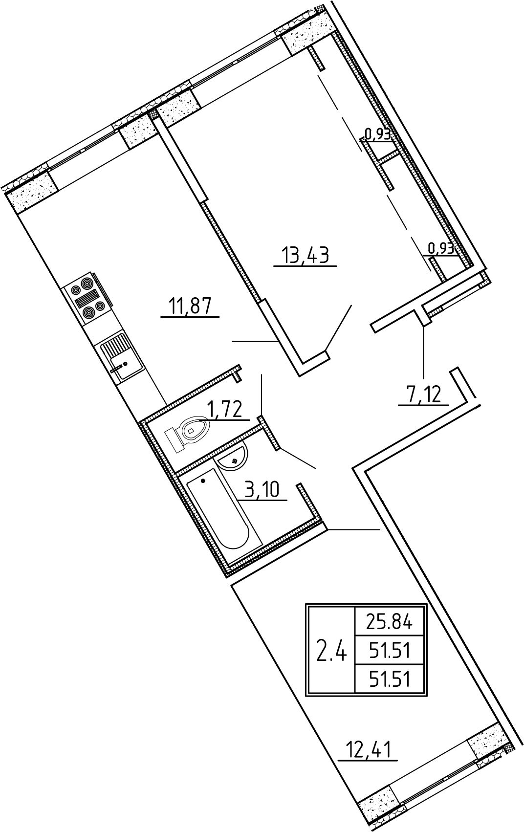 2-к.кв, 51.51 м²