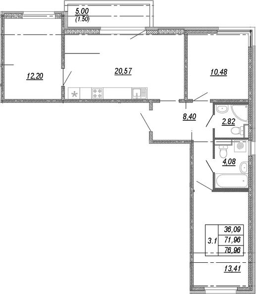 4Е-комнатная квартира, 71.96 м², 8 этаж – Планировка