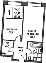 2Е-к.кв, 51.8 м², 6 этаж