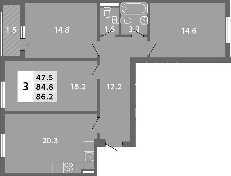 4Е-комнатная, 86.2 м²– 2