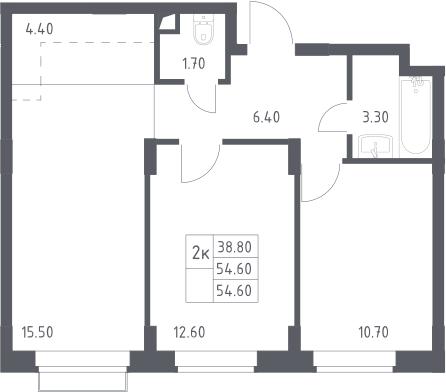 3-к.кв (евро), 54.6 м²