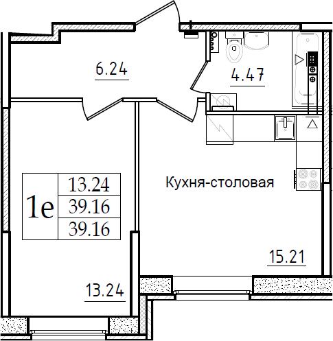2Е-к.кв, 39.16 м²