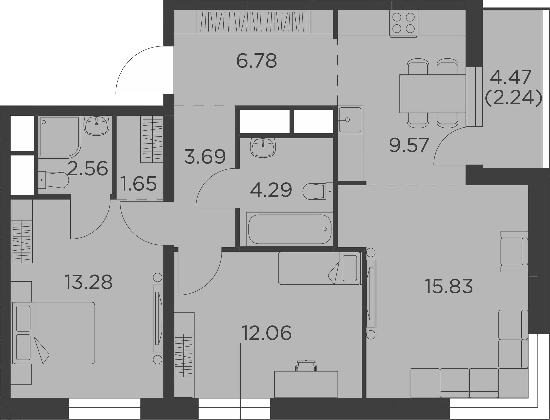 3-комнатная, 71.95 м²– 2