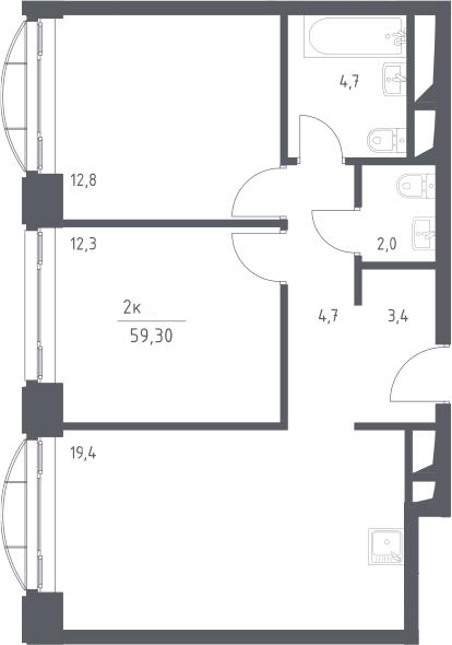 3Е-к.кв, 59.3 м², 11 этаж
