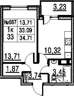 1-к.кв, 34.71 м²