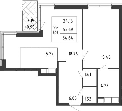 2-к.кв (евро), 57.82 м²