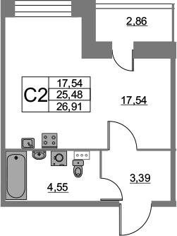 Студия, 26.91 м²– 2
