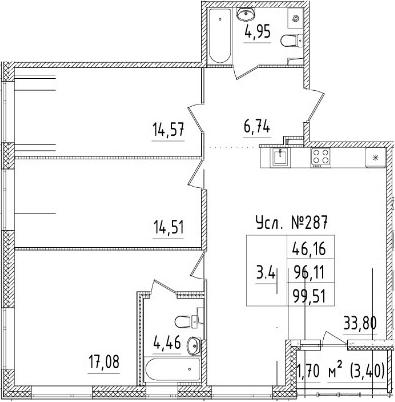 4Е-к.кв, 96.11 м², 2 этаж