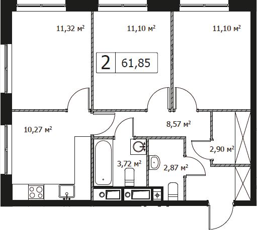 3-комнатная, 61.85 м²– 2