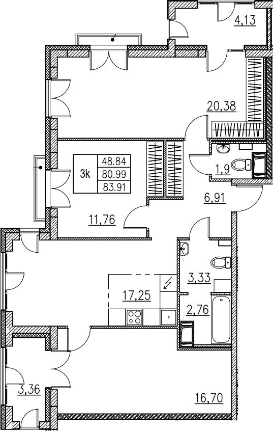 4Е-комнатная, 83.91 м²– 2