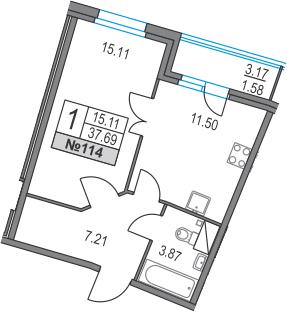 1-к.кв, 37.69 м², 2 этаж