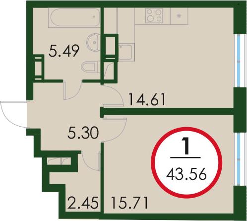 1-к.кв, 43.56 м²