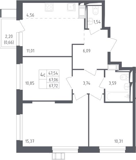 4Е-к.кв, 67.72 м²