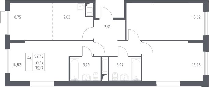 4Е-комнатная, 75.17 м²– 2
