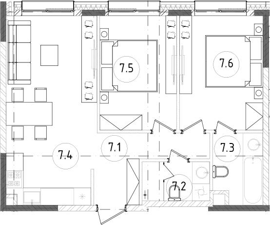 3Е-к.кв, 55.8 м², от 13 этажа