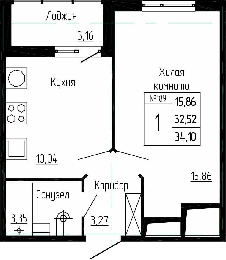 1-к.кв, 35.68 м²