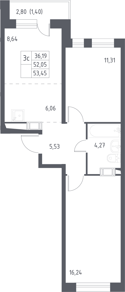 3Е-комнатная квартира, 53.45 м², 12 этаж – Планировка
