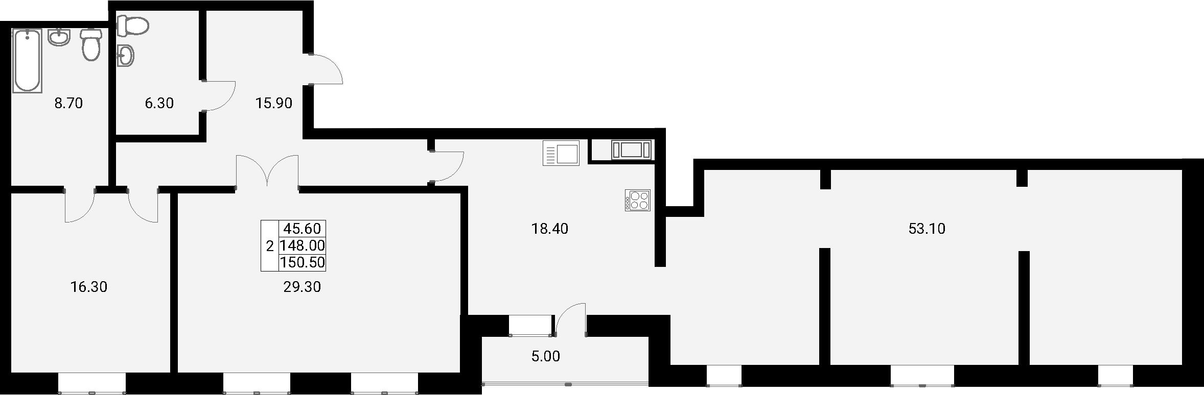3-к.кв, 153 м²