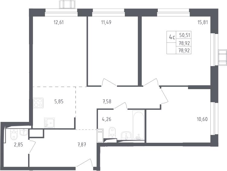 4Е-к.кв, 78.92 м²