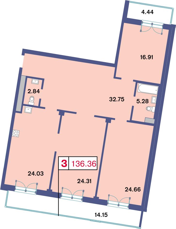 4Е-комнатная, 136.36 м²– 2