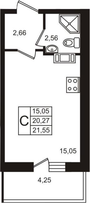 Студия, 20.27 м²– 2