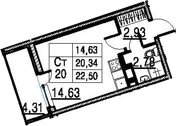 Студия, 20.34 м²