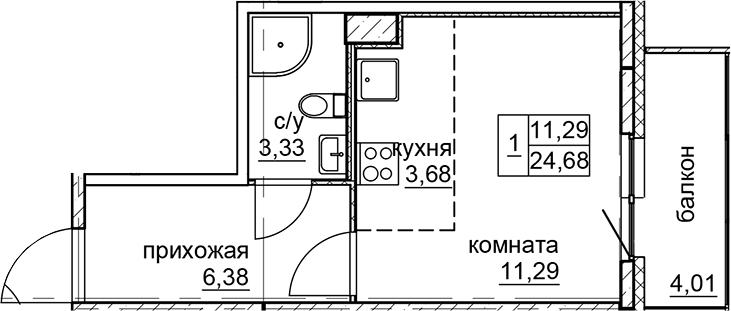 Студия, 24.68 м²