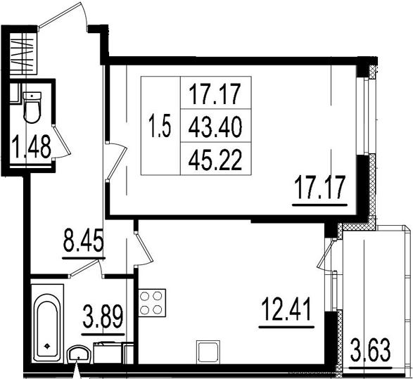 1-к.кв, 47.03 м²
