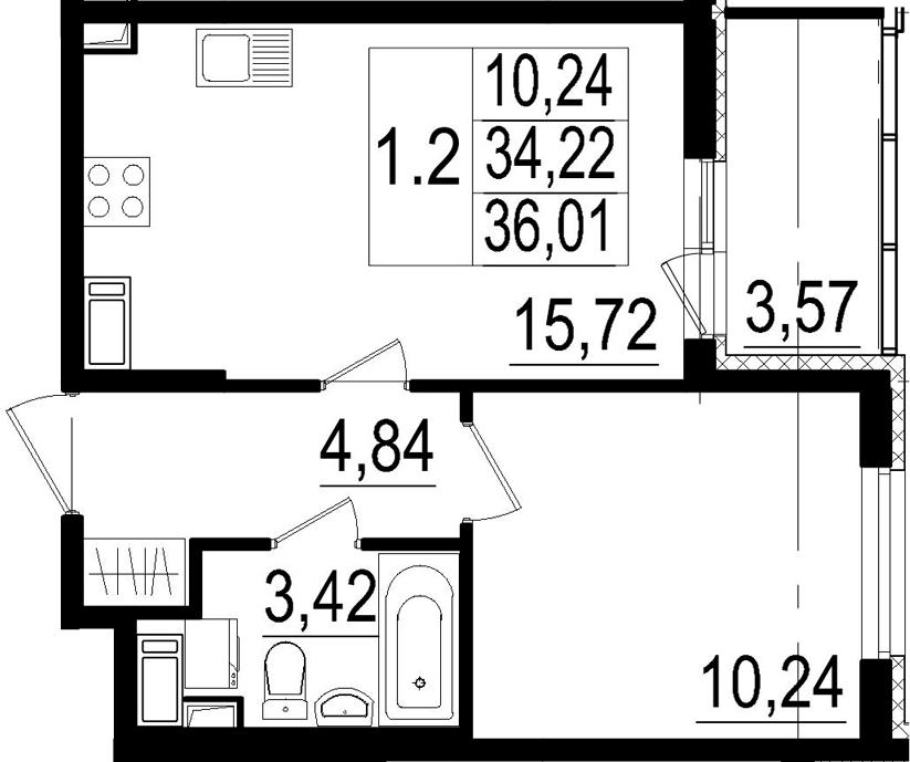 2Е-к.кв, 34.22 м², от 4 этажа