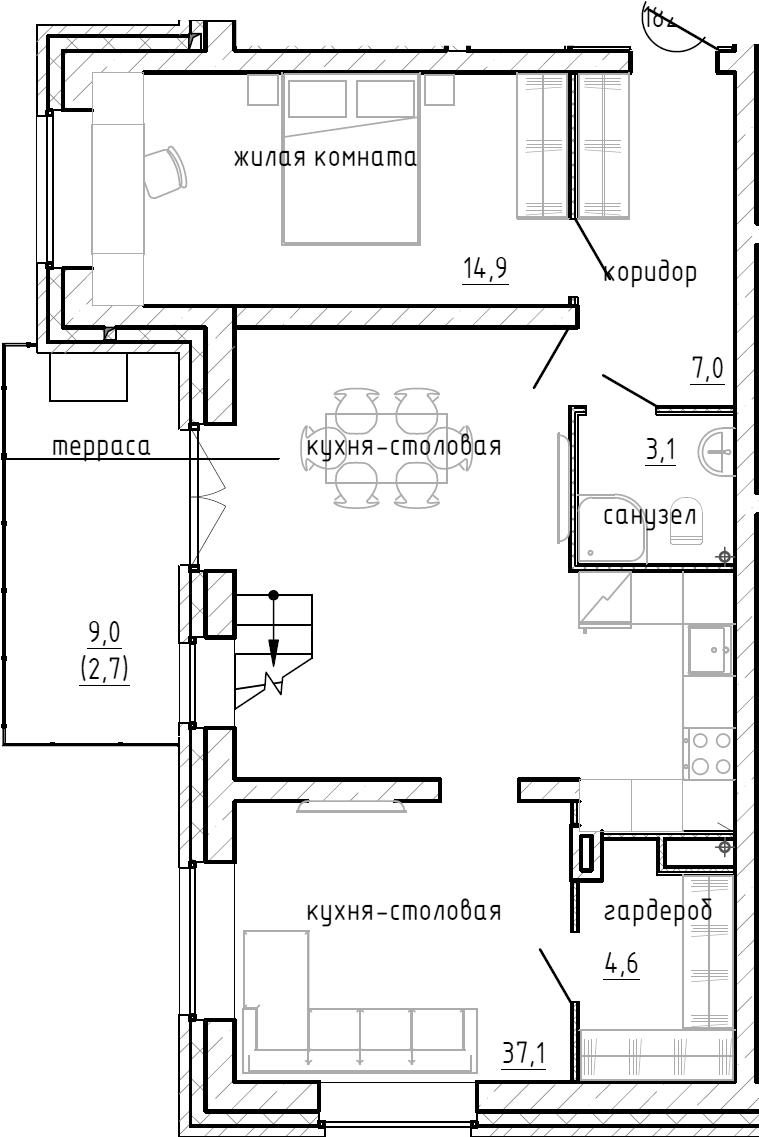 1-комнатная, 83.1 м²– 2