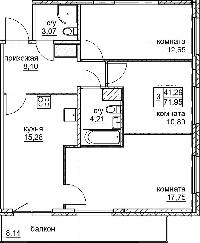 4Е-к.кв, 71.95 м²