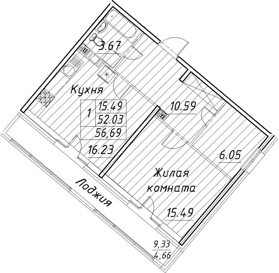 2-к.кв (евро), 61.35 м²