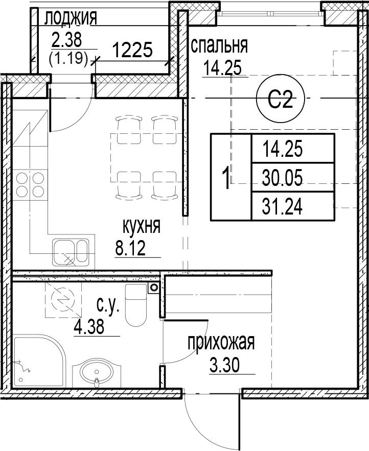 1-к.кв, 32.43 м²