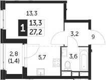 Студия, 28.6 м²