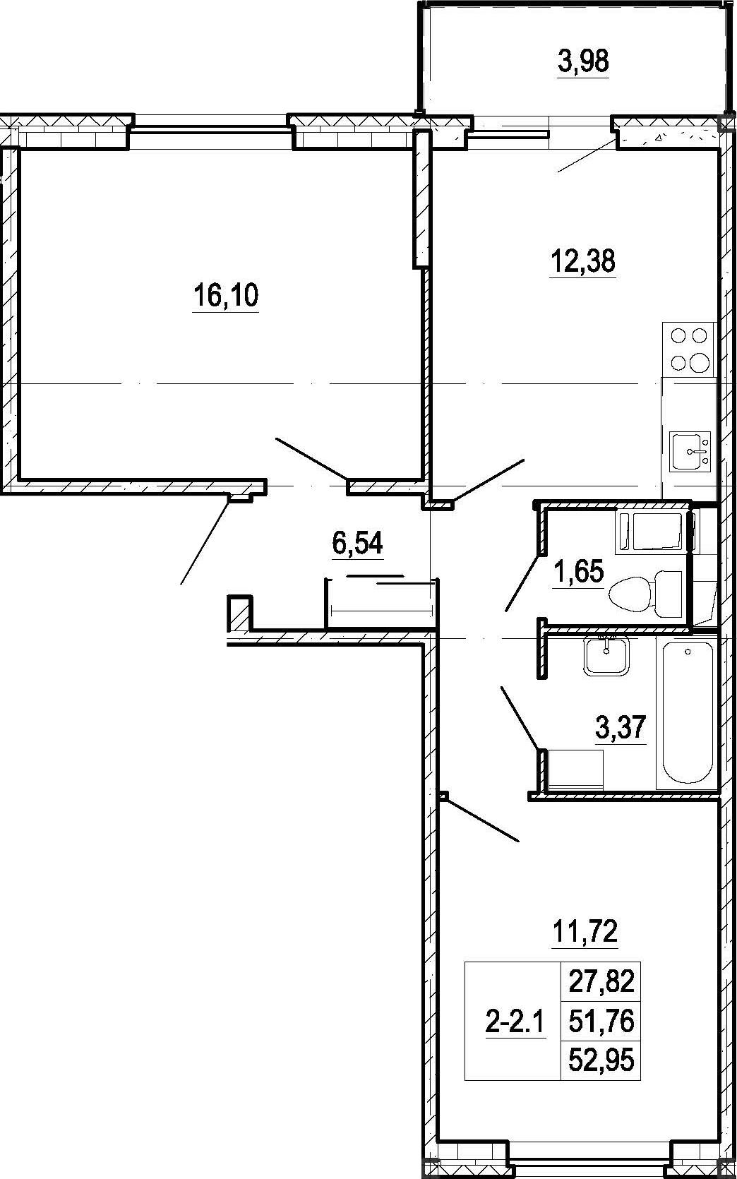 2-к.кв, 55.74 м²