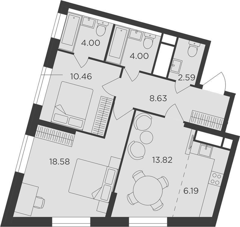 3Е-комнатная, 68.27 м²– 2