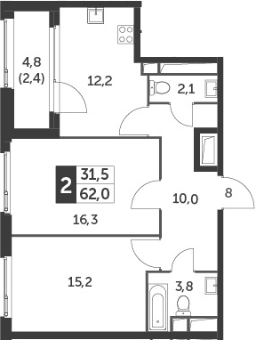 2-комнатная, 62 м²– 2