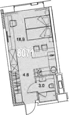 Студия, 26.5 м²