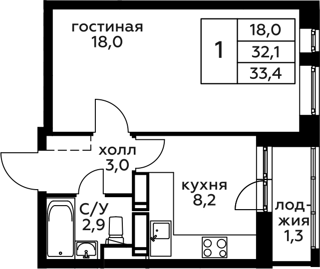 1-к.кв, 33.4 м², 9 этаж