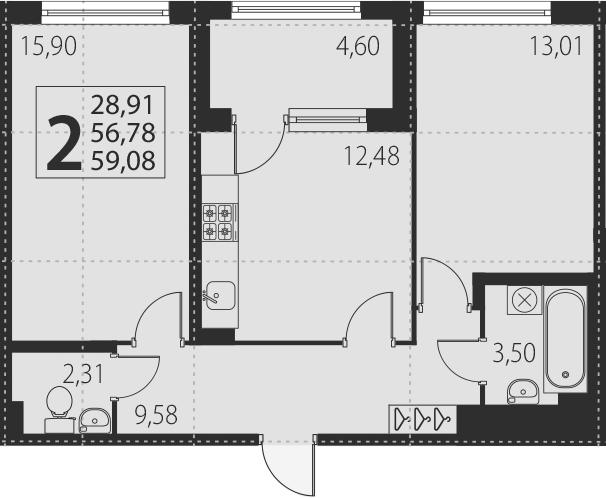 2-к.кв, 61.38 м²