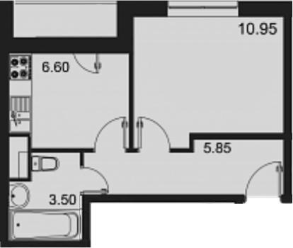 1-комнатная, 28 м²– 2