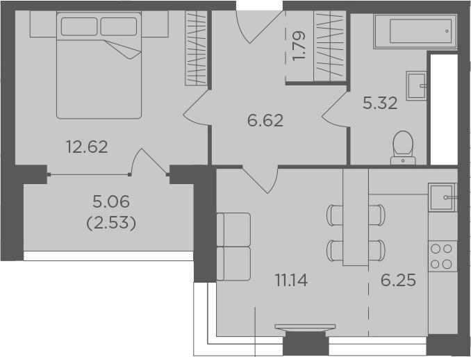 2Е-к.кв, 46.27 м², 21 этаж