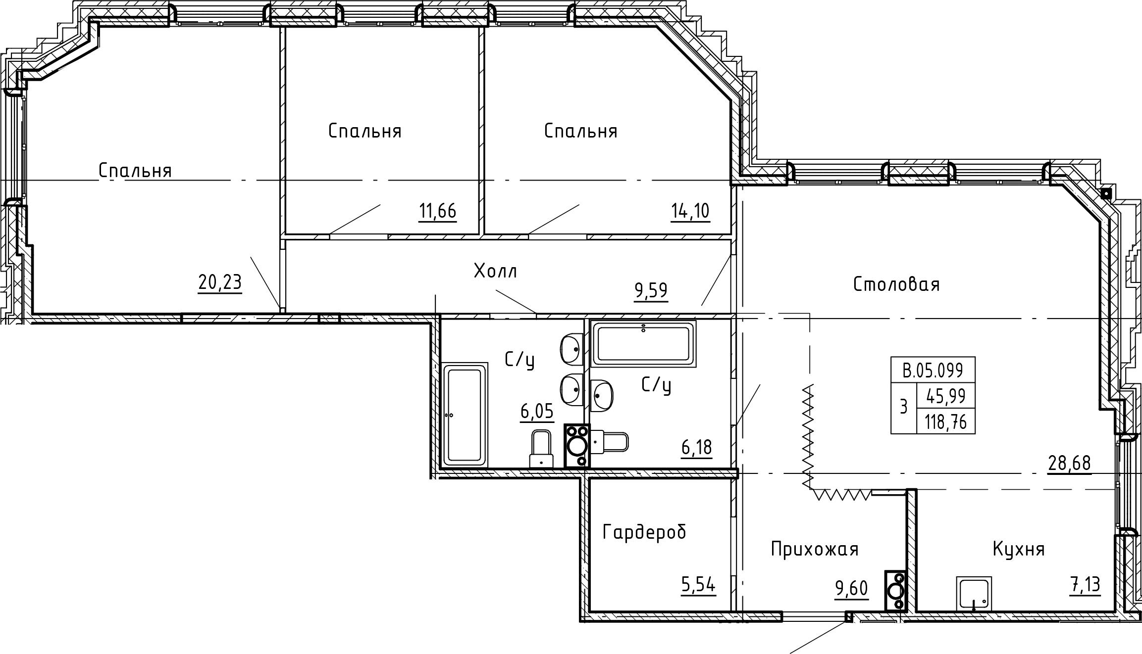 4Е-комнатная, 118.76 м²– 2