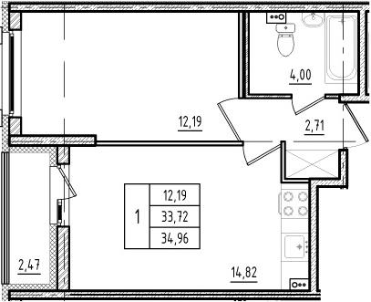 2Е-к.кв, 33.72 м², 1 этаж