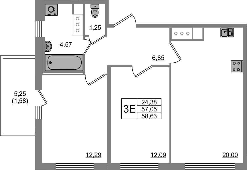 3Е-к.кв, 57.05 м², от 3 этажа