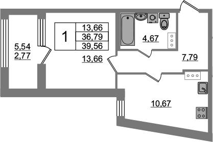1-к.кв, 36.79 м², от 4 этажа