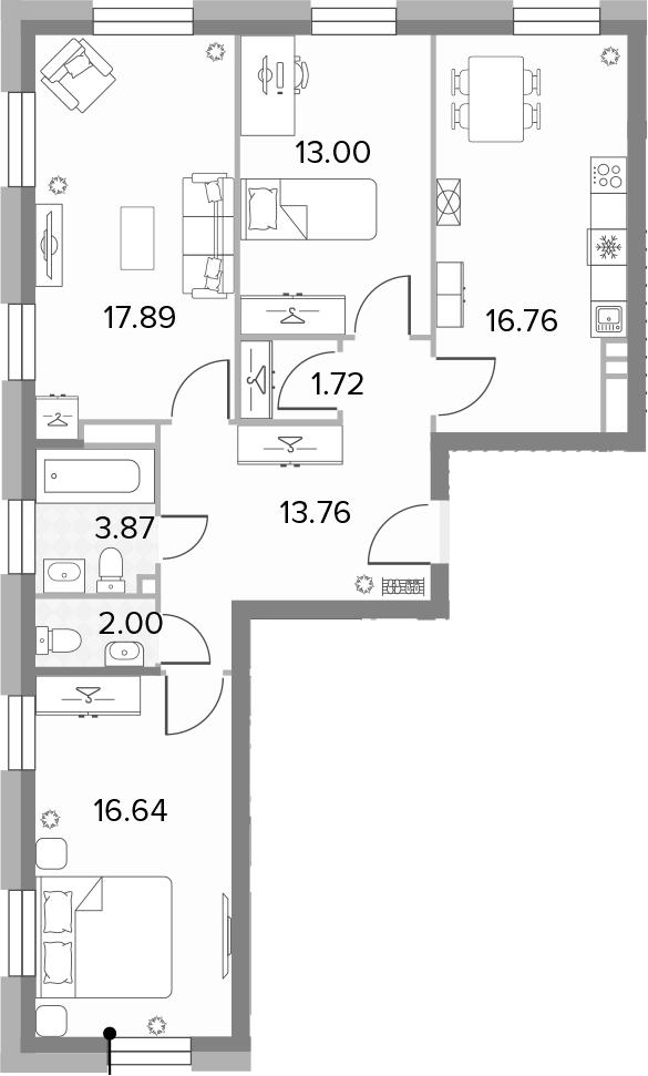 4Е-к.кв, 85.64 м², 11 этаж