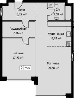 2Е-комнатная, 77.35 м²– 2
