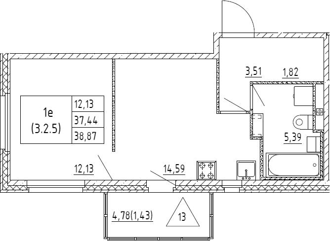 2Е-к.кв, 38.87 м², 2 этаж